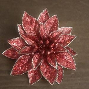 Red Holiday Glitter Pinup Flower